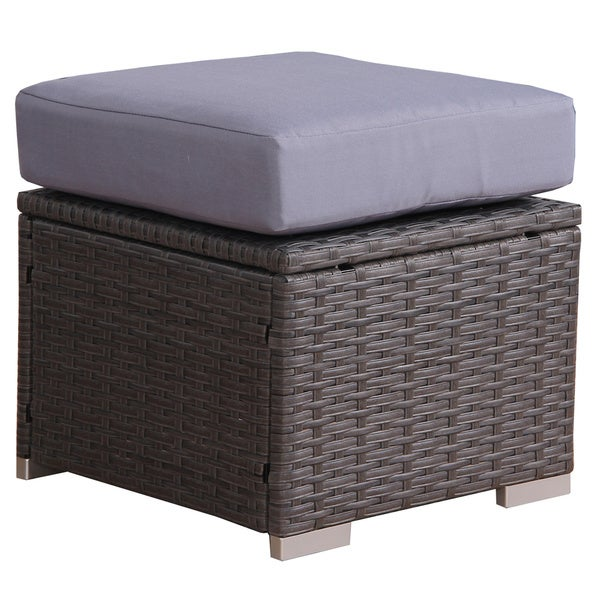 Rattan Table Set Part - 33: BroyerK Blue/Grey Rattan 10-piece Patio Furniture Set - Free Shipping Today  - Overstock.com - 18846658