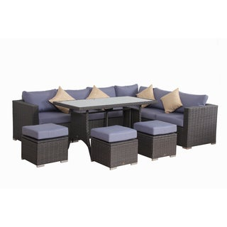 BroyerK Blue/Grey Rattan 10 Piece Patio Furniture Set