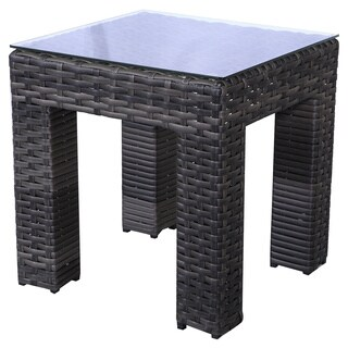 Bora Bora Grey Wicker Rattan End Table with Glass Top