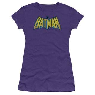 DC/Classic Batman Logo Distressed Junior Sheer in Purple