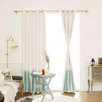 Aurora Home Faux Silk Colorblock Blackout Curtain Panel - 52 x 84