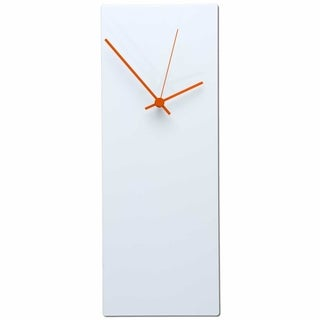 Metal Art Studio 'Whiteout Clock Large ' Modern Minimalist White Metal Wall Clock with Colored Hands