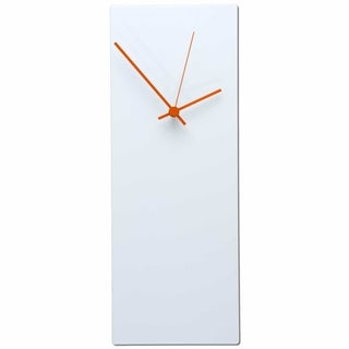 NAY 'Whiteout Clock Large ' Modern Minimalist White Metal Wall Clock with Colored Hands
