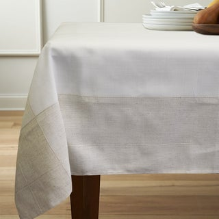 Natural Tan/Off-white Faux Linen 60-inch x 84-inch Tablecloth
