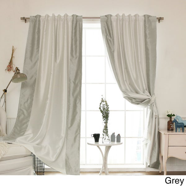 aurora home vertical colorblock faux silk blackout curtain panel 52 x 84 free shipping today