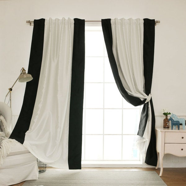 Aurora Home Vertical Colorblock Faux Silk Blackout Curtain