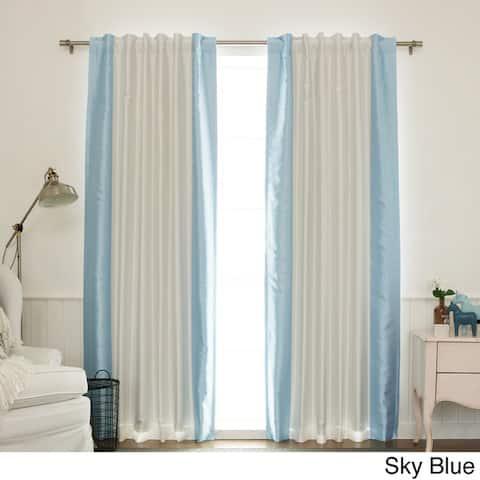 Aurora Home Vertical Colorblock Faux Silk Blackout Curtain Panel - 52 x 84