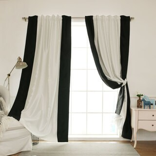 Link to Aurora Home Vertical Colorblock Faux Silk Blackout Curtain Panel - 52 x 84 - 52 x 84 Similar Items in Curtains & Drapes
