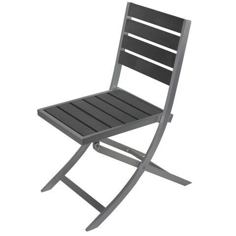 Cortesi Home Maxwell Grey Aluminum/Polywood Outdoor Folding Chair