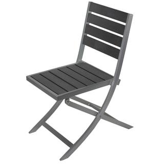 Cortesi Home Maxwell Grey Aluminum/Resin Wood Outdoor Folding Chair