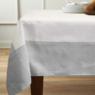 White/Grey Faux Linen 60-inch x 84-inch Tablecloth