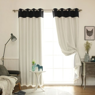 Aurora Home Top Border Faux Silk Blackout Curtain Panel - 52 x 84