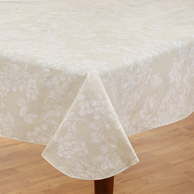 Grapevine Ivory Vinyl Flannel Back 60-inch x 84-inch Tabl...
