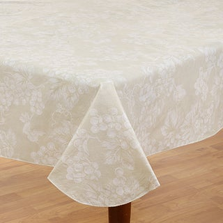 Grapevine Ivory Vinyl Flannel Back 60-inch x 84-inch Tablecloth