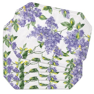 Reversible Lilac Print Vinyl 13-inch x 18-inch Placemat Set (Set of 2 or 4)