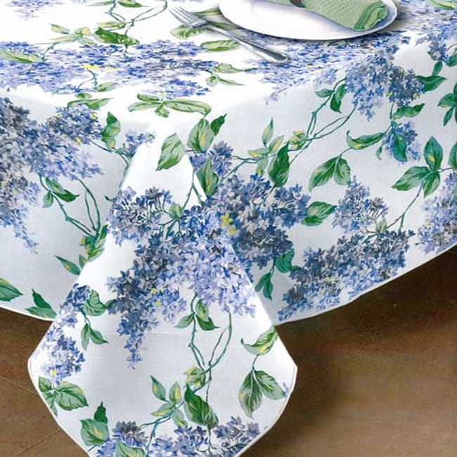 "Lilac Print Vinyl Flannel-back Tablecloth (60""x84"", Lilac..."