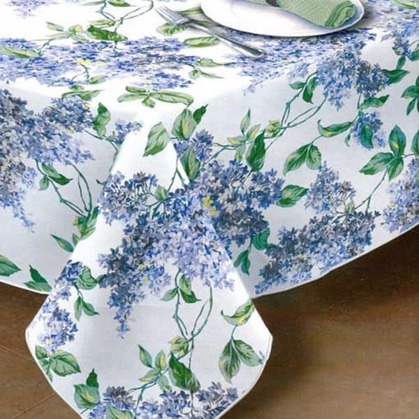 Shop Lilac Print Vinyl Flannel Back Tablecloth On Sale