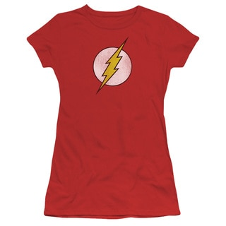 DC/Flash Logo Distressed Junior Sheer in Red