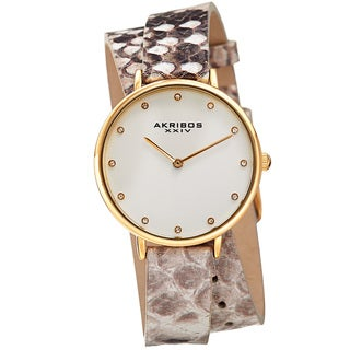 Akribos XXIV Women's Quartz Swarovski Crystal Double Wrap Leather Lizard Strap Watch