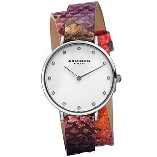 Akribos XXIV Women's Quartz Swarovski Crystal Elements Double Wrap Leather Lizard Strap Watch with FREE GIFT