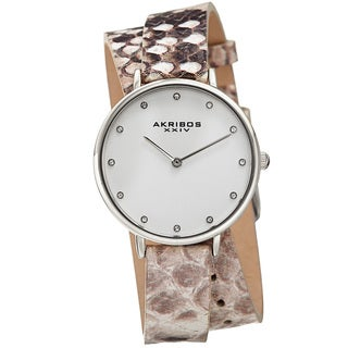 Akribos XXIV Women's Quartz Swarovski Crystal Double Wrap Leather Lizard Strap Watch with FREE Bangle