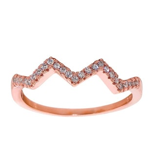 Eternally Haute Sterling Silver Cubic Zirconia Stackable Pave Chevron Ring