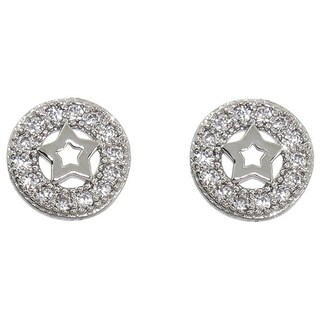 Eternally Haute White Brass Cubic Zirconia Pave Circle Star Stud Earrings