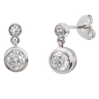 Eternally Haute White Brass Cubic Zirconia Bezel Drop Earrings