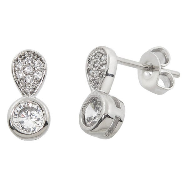 Eternally Haute White Brass Cubic Zirconia Pave Drop Earrings - Silver