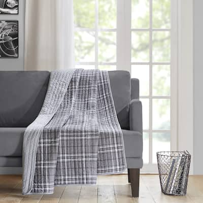 Intelligent Design Campbell Traditional Grey Oversized Quilted Throw