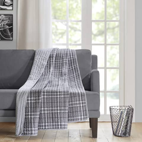 Intelligent Design Campbell Grey Oversized Quilted Throw