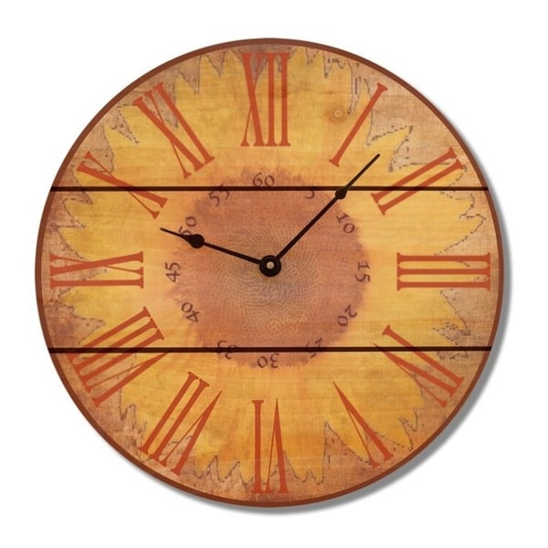 Brown Wood Sunflower Clock