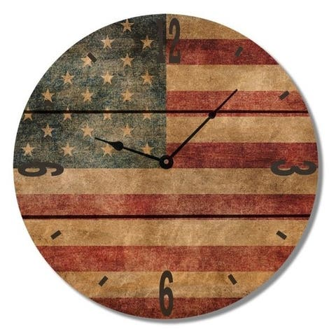 American Flag Rustic Wood Clock - Indoor and Outdoor Safe Clock