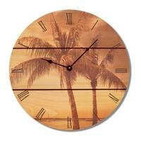 Gizaun Brown Wood Tropic Wall Clock
