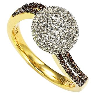 Suzy Levian Anniversary Brown and White Cubic Zirconia Pave Gold Plated Sterling Silver Ring
