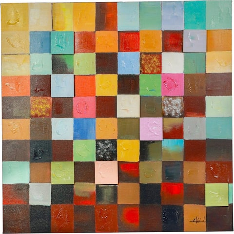 40 x 40-inch Hand-painted 'Mind Boggling' in Vivid Colors and Textures Squares Abstract Canvas Artwork - Multi