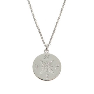 Eternally Haute True North White Brass Engraved Compass Pendant Necklace