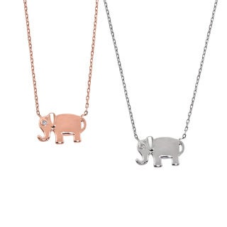 Eternally Haute 14k Gold-plated Brass Cubic Zirconia Elephant Necklace
