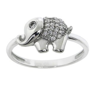 Eternally Haute Solid Sterling Silver and Pave Cubic Zirconia Baby Elephant Ring