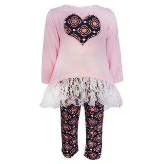 AnnLoren Girls Boutique Medallion Pink Cotton Tunic and Leggings
