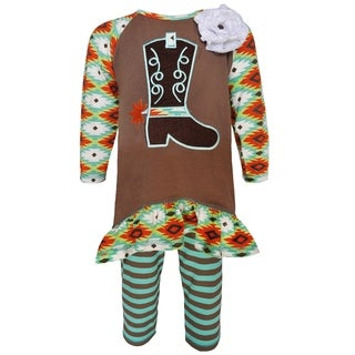 AnnLoren Girls' Brown Boutique Cowgirl Tunic and Legging Outfit