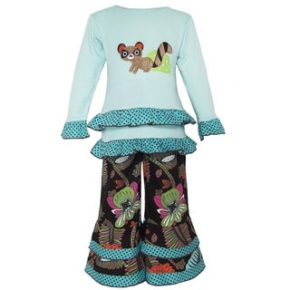 AnnLoren Girls' Blue Cotton Raccoon Tropical-pattern Tunic and Pant Set