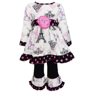 AnnLoren Girl's 'Poodles in Paris' Multicolored Cotton Dress and Pant Set