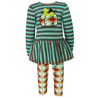 AnnLoren Girls' Boutique Green Aztec Pumpkin Patch Outfit