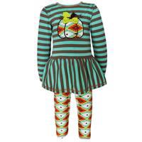 AnnLoren Girls' Boutique Green Aztec Pumpkin Patch Outfit