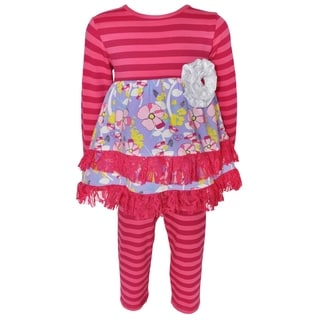 AnnLoren Girl's Pink Floral Striped Dress and Legging Set