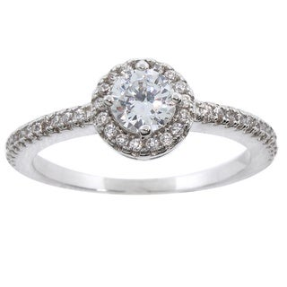 Eternally Haute White Brass Pave Halo Cubic Zirconia Engagement Ring