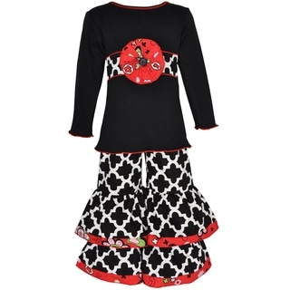 Ann Loren Girls' Black/Red/White Cotton Knit Tunic with Woven Lattice Pant Set