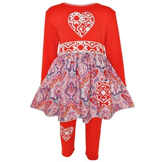 AnnLoren Girl's Red Heart Knit Dress with Leggings