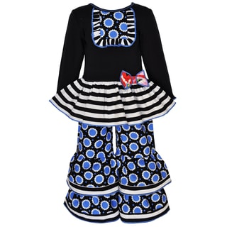 AnnLoren Girls Cotton Flower Print Tunic and Pant Set